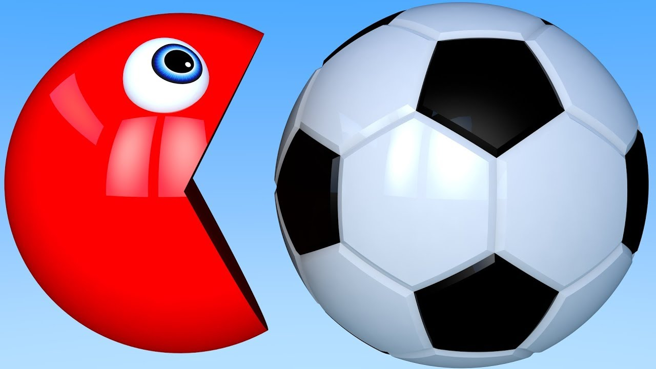 Learn Colors with PACMAN and 3D Soccer Ball for Kid Children