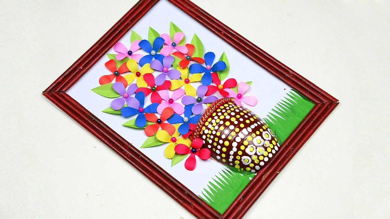 Paper Wall Hanging Paper Flower Vase Decorations Paper Wall Hanging Crafts Youtube
