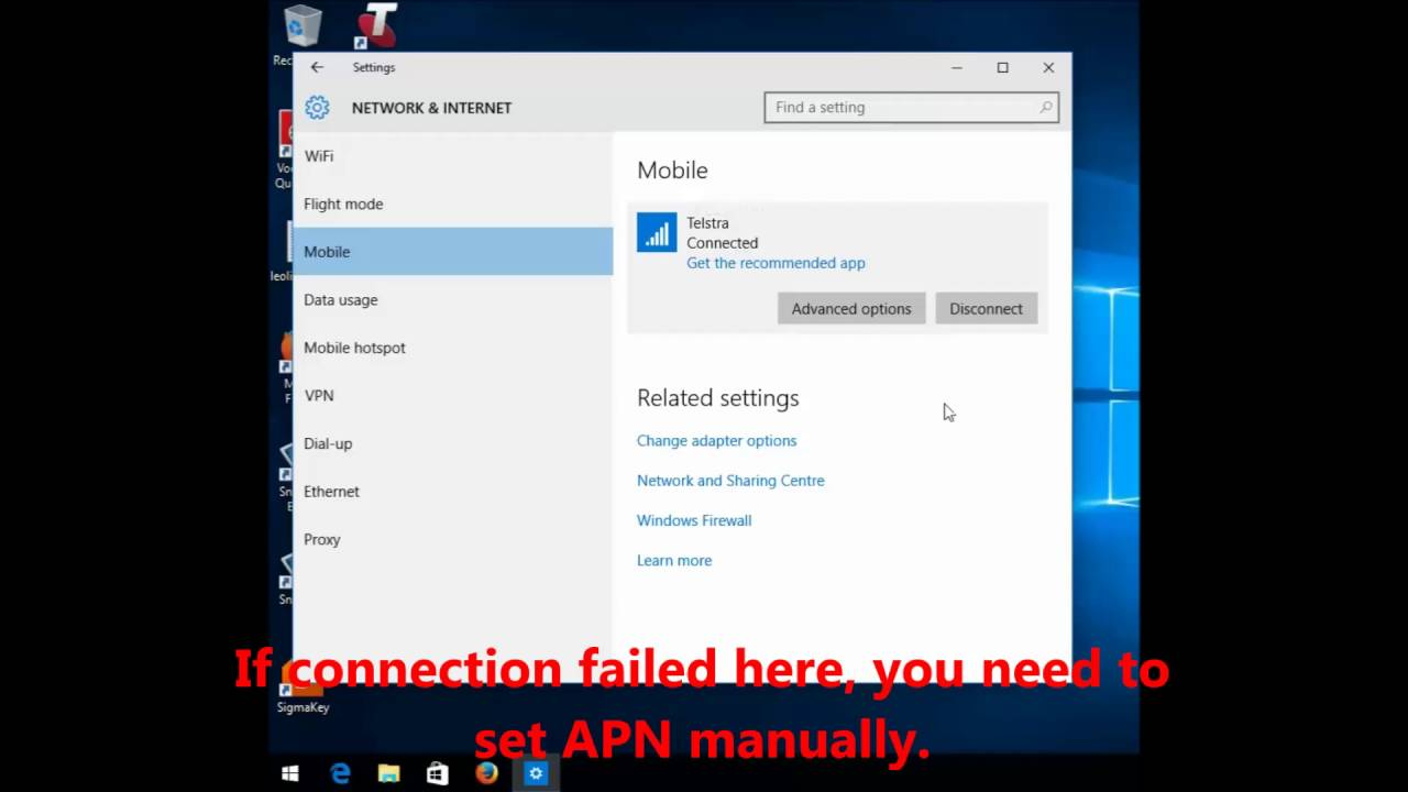 Windows 10 Setting of Vodafone Huawei K4606 K4203 USB Modem