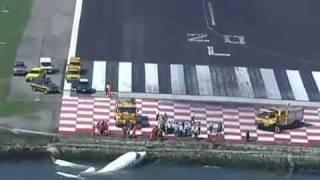 Imagens do acidente em 3D com o jato da Ocean Air que caiu na Baia de Guanabara