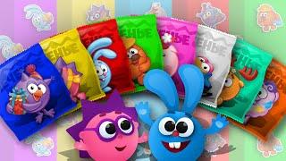 Разноцветные СЛАДОСТИ - Учим Цвета с Игрушками СМЕШАРИКИ - Учим Цифры