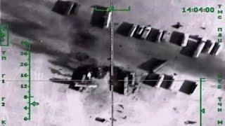 مشاهد القصف الروسي لصهاريج نفط داعش