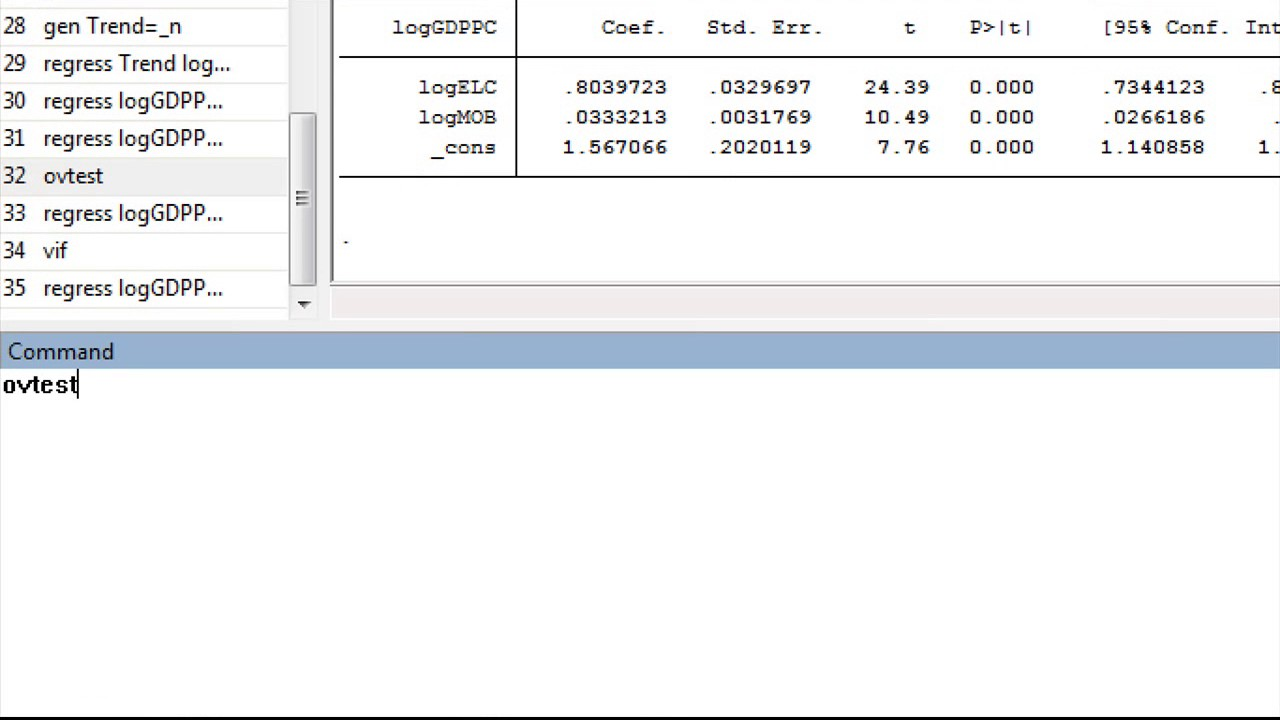 How to check for omitted variable bias in Stata Misspecification test  Ramsey RESET test