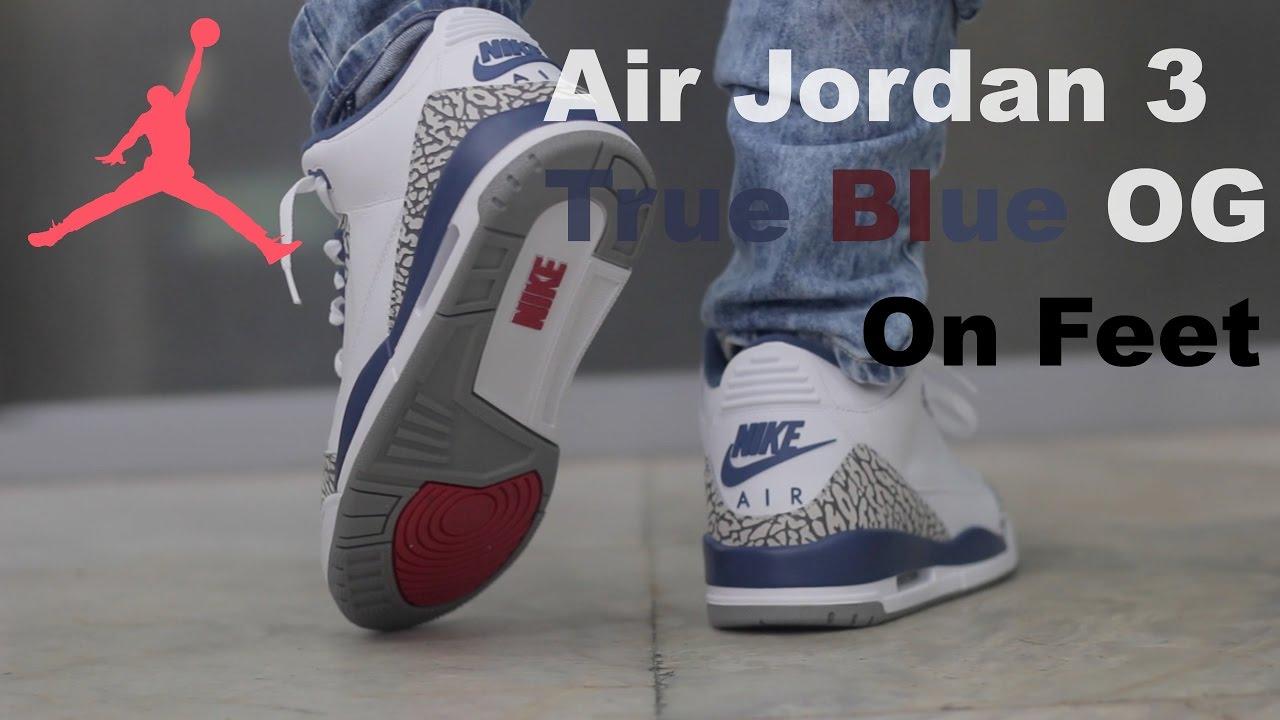 954cf23834e47c Air Jordan 3 True Blue OG 2016 On Feet - YouTube