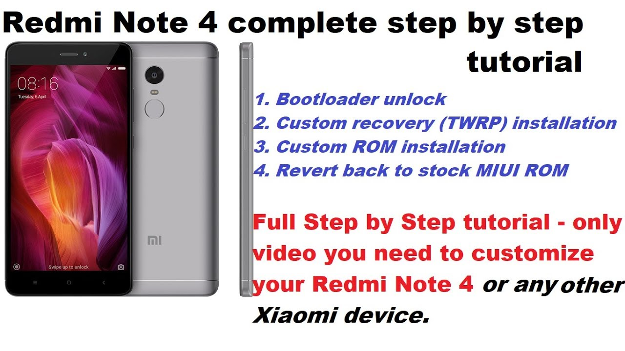 Redmi note 4 bootloader unlock and custom rom installation