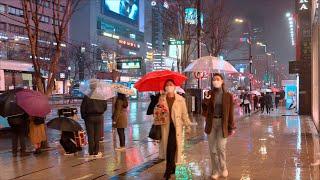 [4K] Seoul Walk - Gangnam with Spring Rain, April 2021