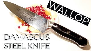 Damascus Steel Knife || Unboxing and Review of Aliexpress Wallop Professional Kitchen Knife