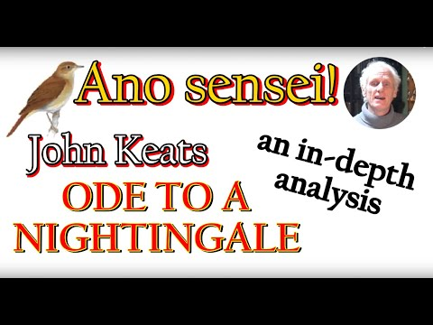 analysis of ode to a nightingale Nightingale also differs from the other odes in that its rhyme scheme is the same in every stanza (every other ode varies the order of rhyme in the final three or four lines except to psyche, which has the loosest structure of all documents similar to an ode to a nightingale analysis skip carousel.