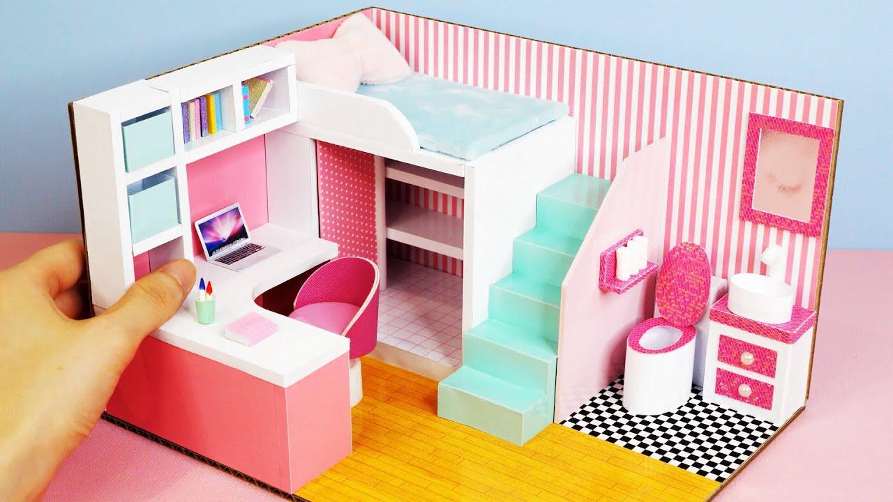 DIY Miniature Cardboard House #44 Pink vs Blue