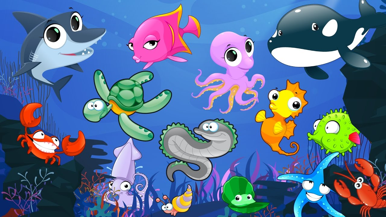 Learn Sea Animals Names And Sounds With Cartoon Characters For