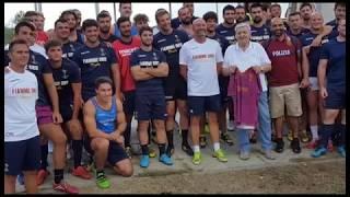 Fiamme Oro, allenamenti sul campo dell'Arezzo Rugby