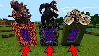 DO NOT CHOOSE THE WRONG PORTAL in Minecraft PE (Godzilla, King Kong & Anaconda)