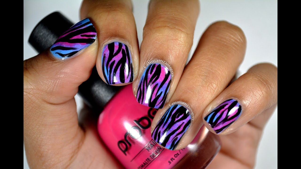 Diy Nail Art Animal Print : Diy multi colored zebra print nail art on sponged pink