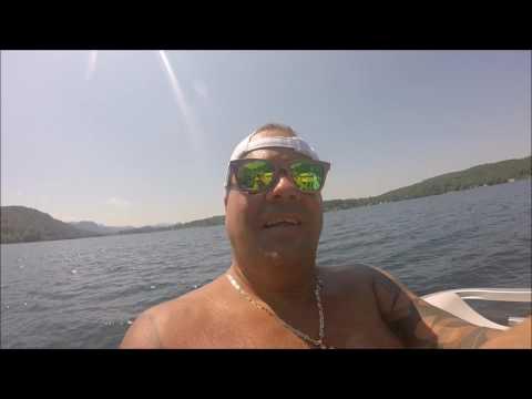 Pontoon boat ride #1 and swimming Lake St Catherine Wells Vermont Robillard