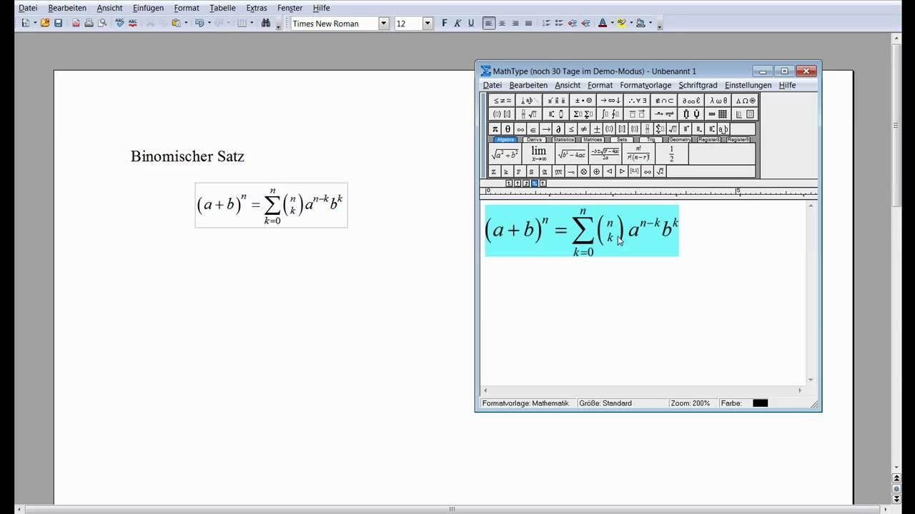 MathType Tutorial 1 Deutsch.mov - YouTube