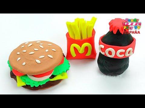 Play Doh Hamburguesa Papas fritas y Coca-Cola McDonald's | Aprende Colores Con Play Doh para niños