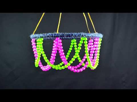 DIY Crystal Beaded Wind Chime | Woolen Jhumar Craft | Homemade Wall Hanging