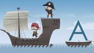 Kinder lernen die ABC Buchstaben mit den ABC Piraten.
