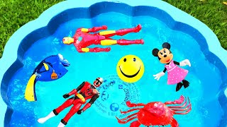 Learn Colors with Toys For Kids - Blue Pool For Children - Toys Barbie Pj Masks Pool of Toys