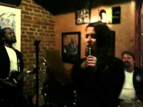Heather at live band karaoke at Fellini's #9