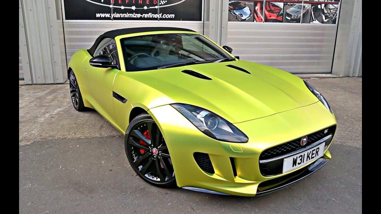 Jaguar Svr >> Jaguar F Type wrapped Satin Chrome Yellow! - YouTube