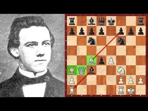 Шахматы. Пол Морфи играет ГАМБИТ ЭВАНСА без коня и СТАВИТ МАТ!