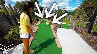 WHICH WAY WILL GIVE US A MINI GOLF HOLE IN ONE?!