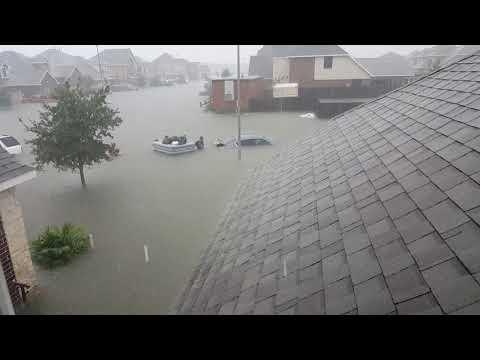 Flooded subdivision hurricane Harvey Mont Belvieu Texas