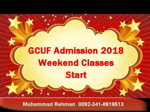 GCUF Admission 2018 G C University Faisalabad Weekend Classes Admission Open