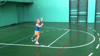 Детский теннис. Игра с тренером. Довгопол Лиза, 5 лет. Kids tennis. Liza, 5 years old.