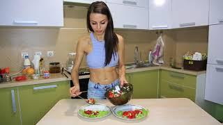 Рецепт приготовления пп ужина.Сибас, овощной салат, пп Баунти. Женя Давыдова.