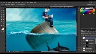 Photoshop Photo Manipulation Tutorial  Boy & Shark - Under Water Scene