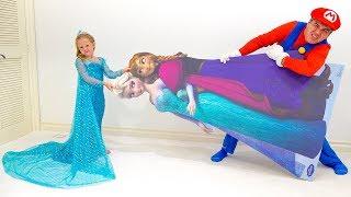 Nastya और राजकुमारी एल्सा की शैली में उसका नया कमरा