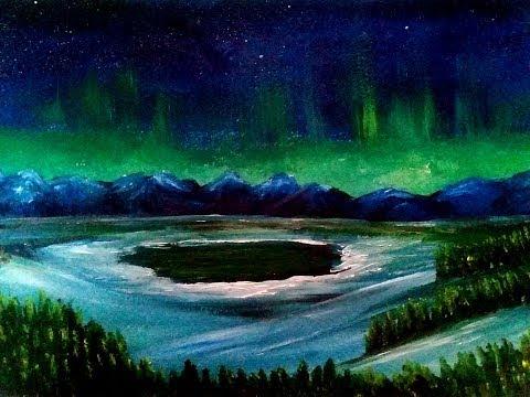 How to paint LANDSCAPES Aurora Borealis Deborah Art