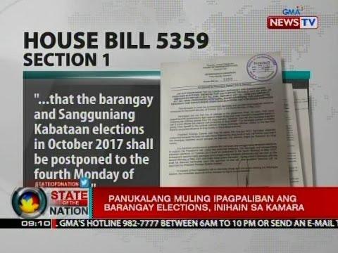 SONA: Panukalang muling ipagpaliban ang barangay elections, inihain sa Kamara