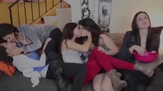 Lesbians Group Kissing