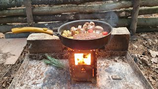 DAY CAMP COOKING ON THE BUSHBOX XL STOVE USING HOMEMADE FUEL [ WAX BURNERS ]