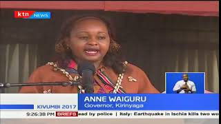 Former Devolution CS Anne Waiguru was sworn in as first ever female governor for Kirinyaga County