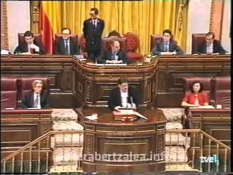 """""""Saquen sus sucias manos de Euskal Herria""""  Jon Idigoras en el Congreso de los Diputados en 1995"""