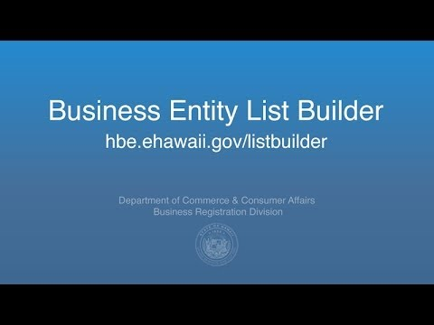 Business Entity List Builder