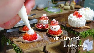 Miniature cake cooking☺︎Merry Christmas! ~クリスマスケーキ&苺サンタクロース~