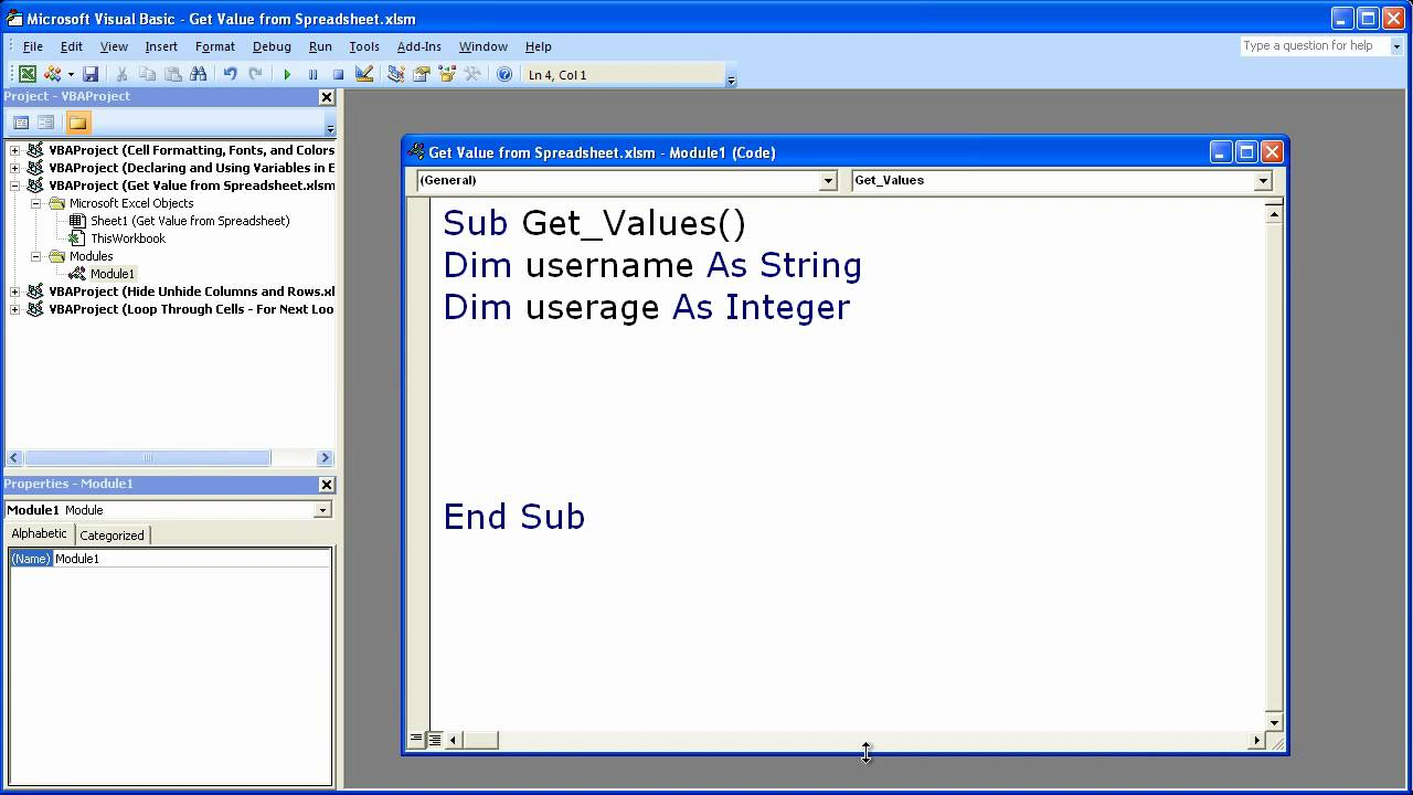 Excel Macro VBA Tip 11 - Assign Excel Cell Contents to Variables in ...