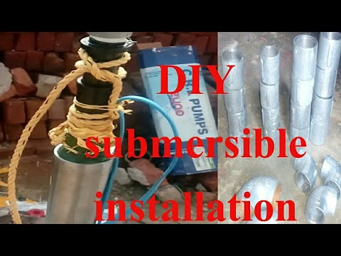 Submersible water pump fitting in borewell submersible pump installation at  home CRI motor DIY 60b246251