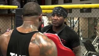 James Wilson boxing padwork inside Roy Jones Jr. Fight Academy