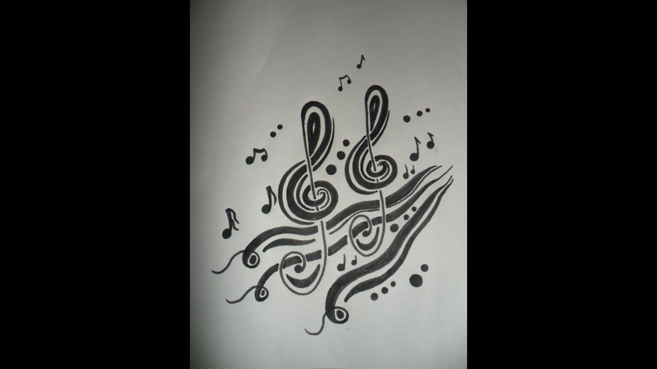 Tribal Clave Musical Dibujo Inspirado En Una Nota Musical