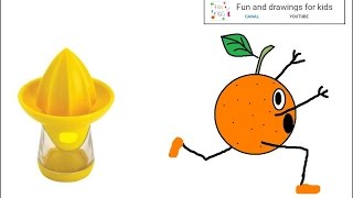 How to draw a funny orange and squeezer for children / Nursery rhymes