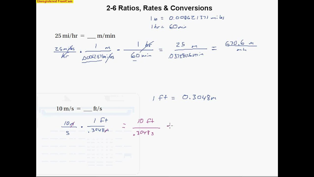 2 6 Ratios rates and conversions YouTube – Ratio and Rates Worksheets