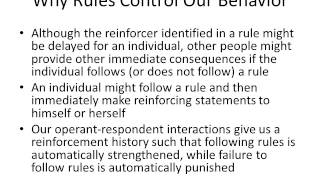 Rule Governed Behavior and Modeling