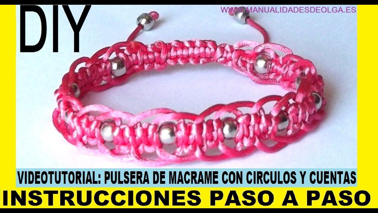COMO HACER PULSERA DE MACRAME DE CIRCULOS CON CUENTAS ...