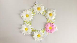 【折り紙】マーガレットのリース Origami Margaret Wreath